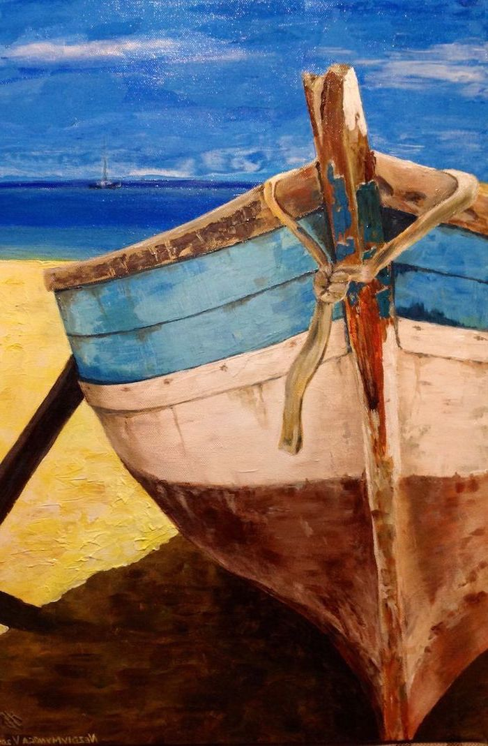 old wooden boat, left on a beach, cute things to paint, ocean in the background, small boat in the distance