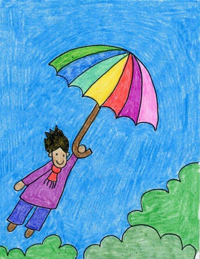boy holding an umbrella, flying in the air above trees, easy drawing ideas, colored with pencils, creative drawing ideas for beginners step by step