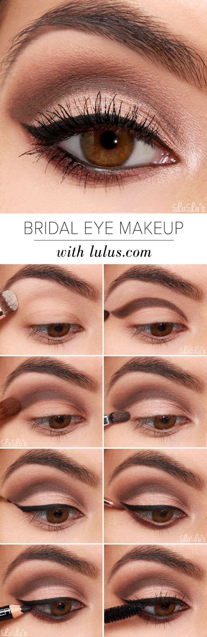 bridal eye makeup, step by step diy tutorial, eyeshadow tutorial, nude and golden eyeshadow colors, black cat eyeliner