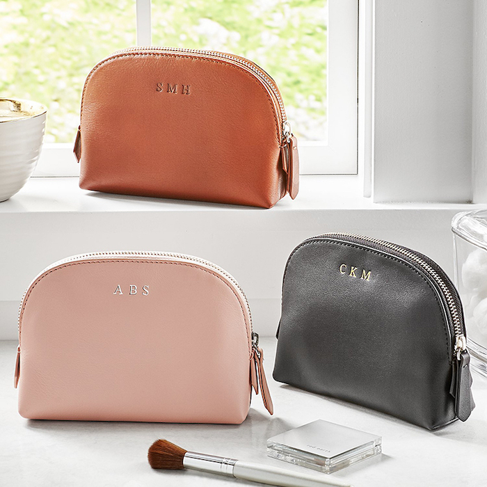 three leather pouches, personalised with initials, brown black and blush colors, valentines day ideas for her