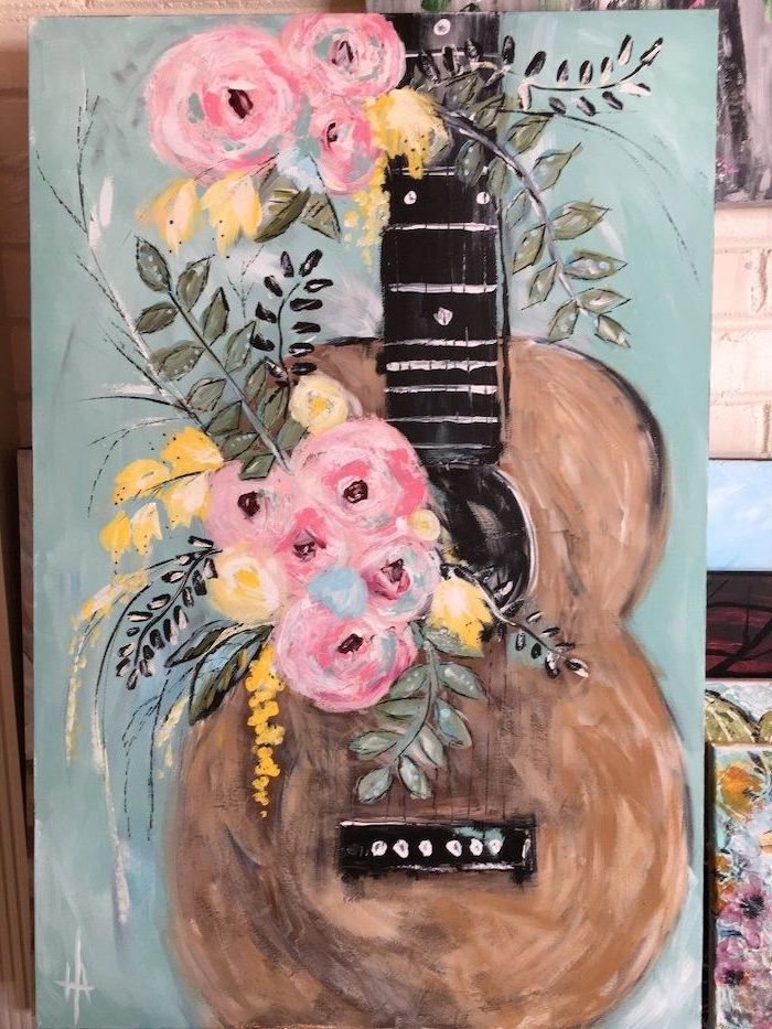 brown guitar, decorated with bouquets of yellow and pink roses, cute things to paint, light blue background