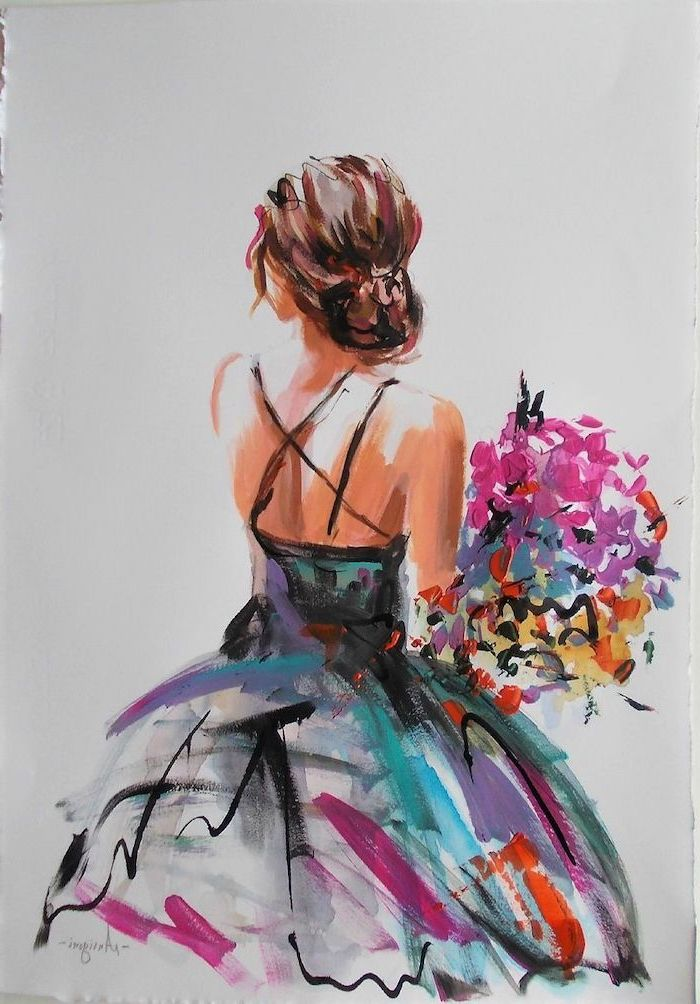 brunette girl with hair in a bun, cute things to paint, holding a bouquet of colorful flowers, wearing a colorful dress