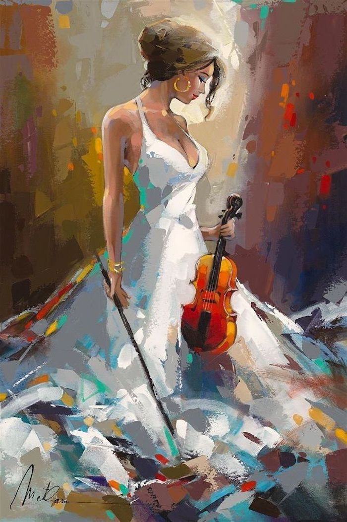 canvas painting, woman holding a violin, wearing white dress, dark background painted with different colors