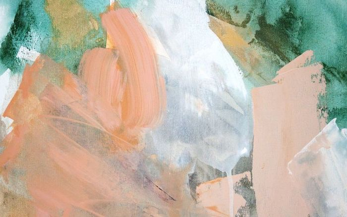 aesthetic desktop wallpaper, brush strokes in different colors and forms, pink white green and gold