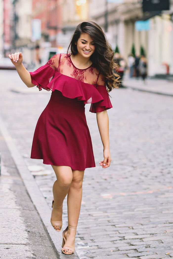 red dress for valentine's day, woman walking on sidewalk, wearing red dress, nude sandals, long brown wavy hair