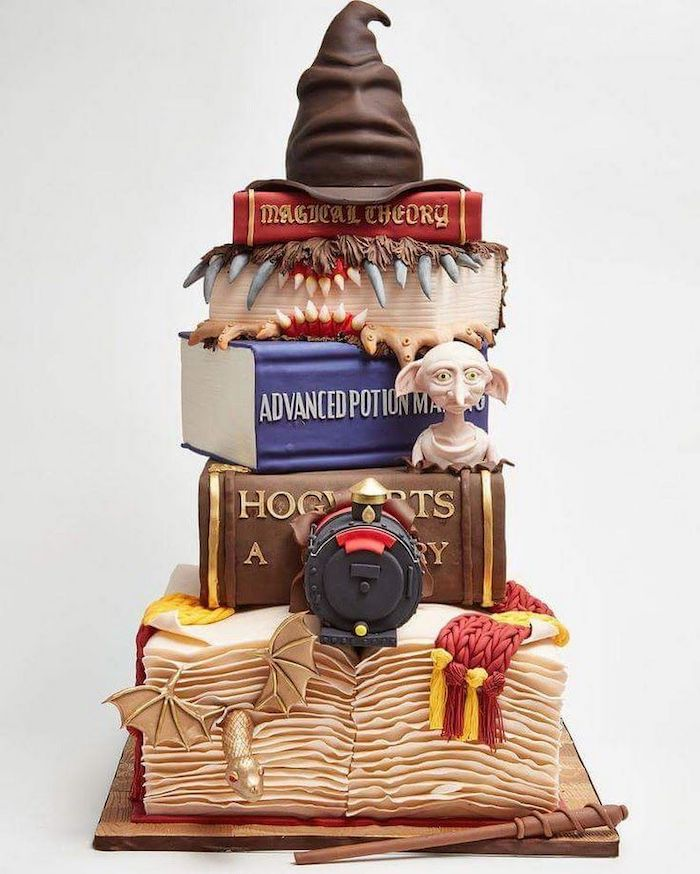 six tier cake, each tier in the shape of a book, sorting hat on top, happee birthdae, white background