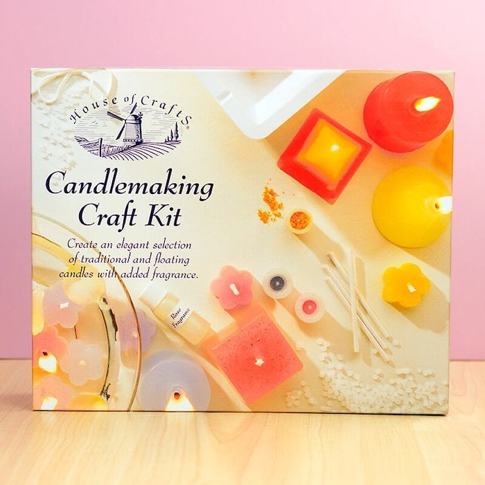 candle making craft kit, inside a box, placed on wooden surface, valentines day ideas for her, pink background