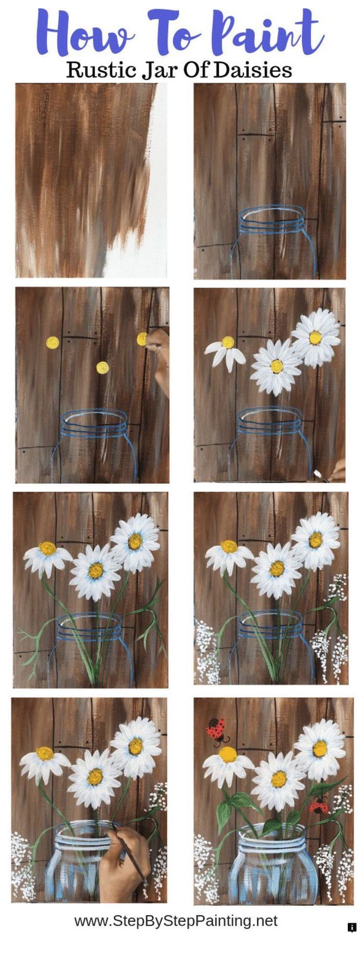 how to paint rustic jar of daisies, photo collage of step by step diy tutorial, cute things to paint