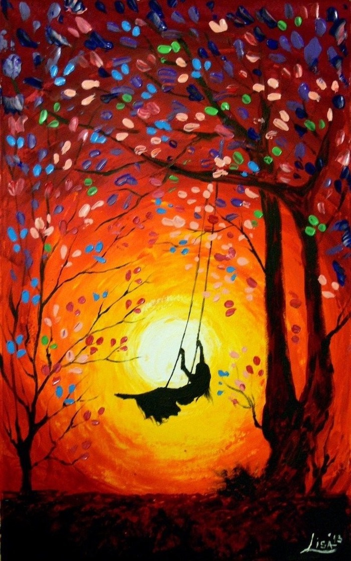 woman swinging on a swing, hanging from a tall tree with colorful leaves, cute things to paint, orange sunset background