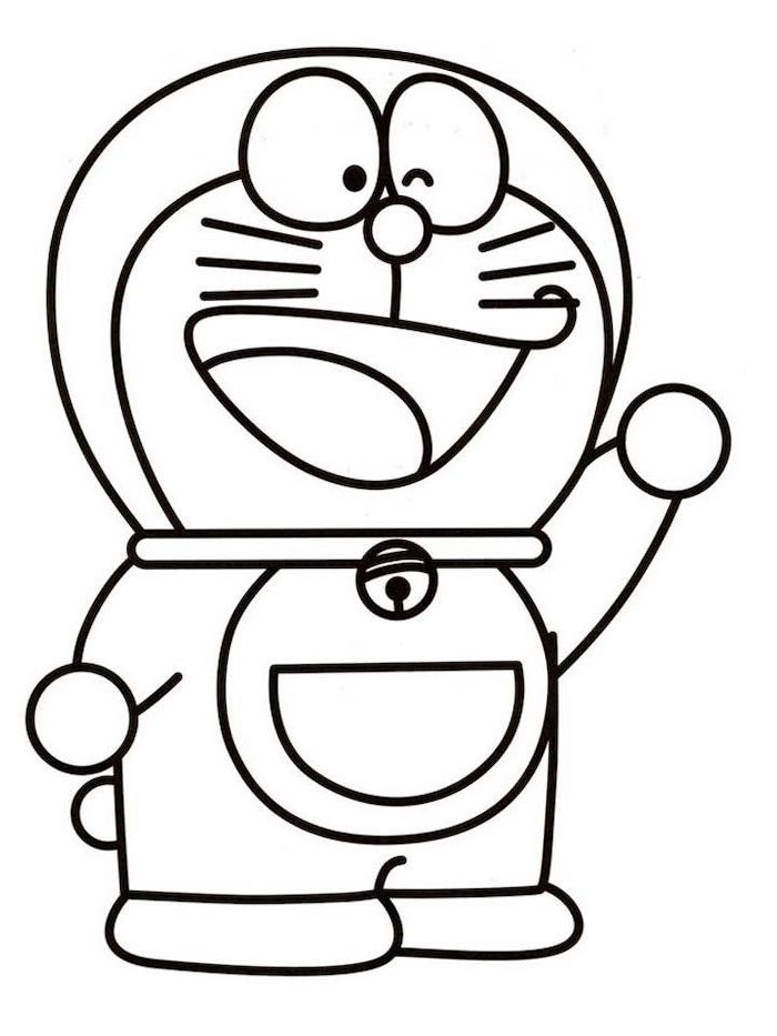 step by step drawing, cartoon person waving, black and white sketch, coloring page on white background