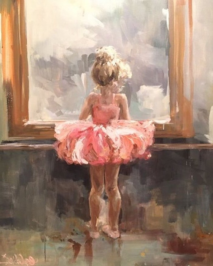 acrylic flower painting, child ballerina with blonde hair in a bun, wearing a pink tutu, looking through a window