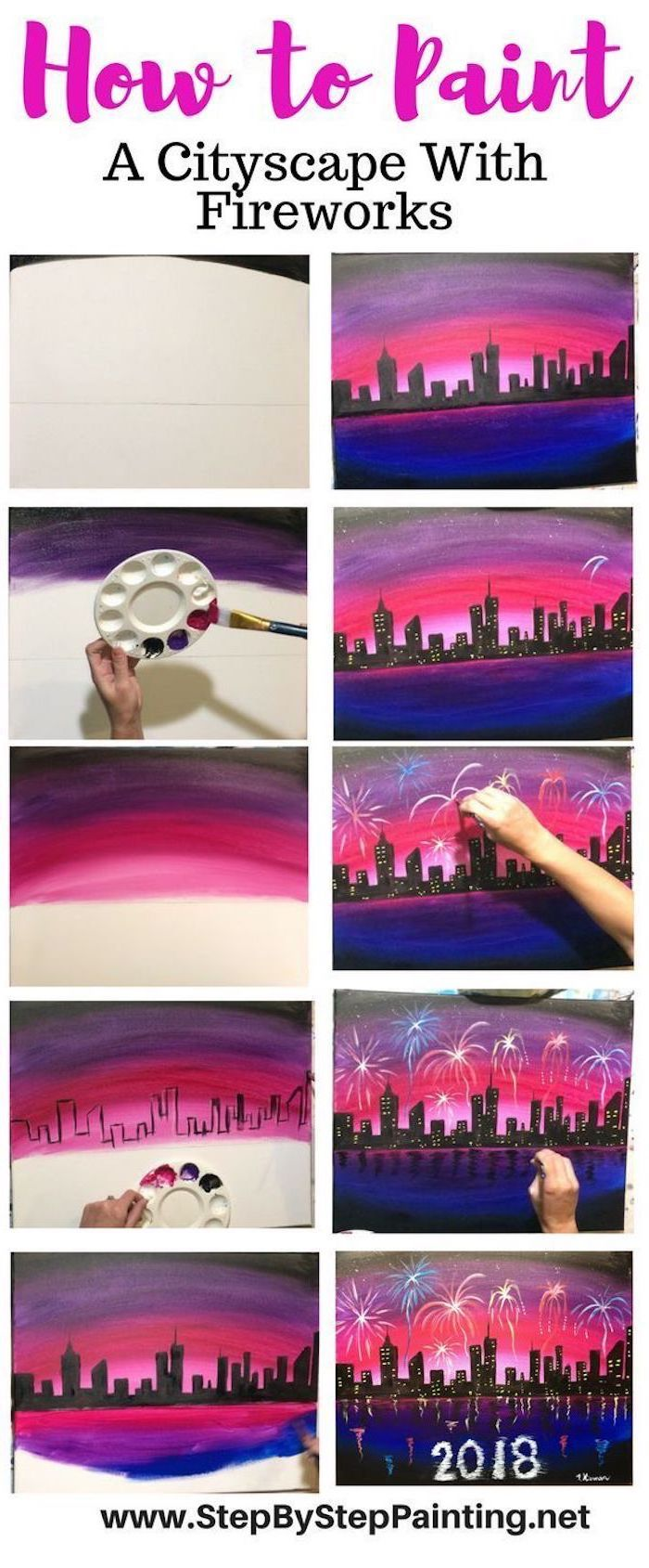 how to paint a cityscape with fireworks, photo collage of step by step diy tutorial, canvas painting