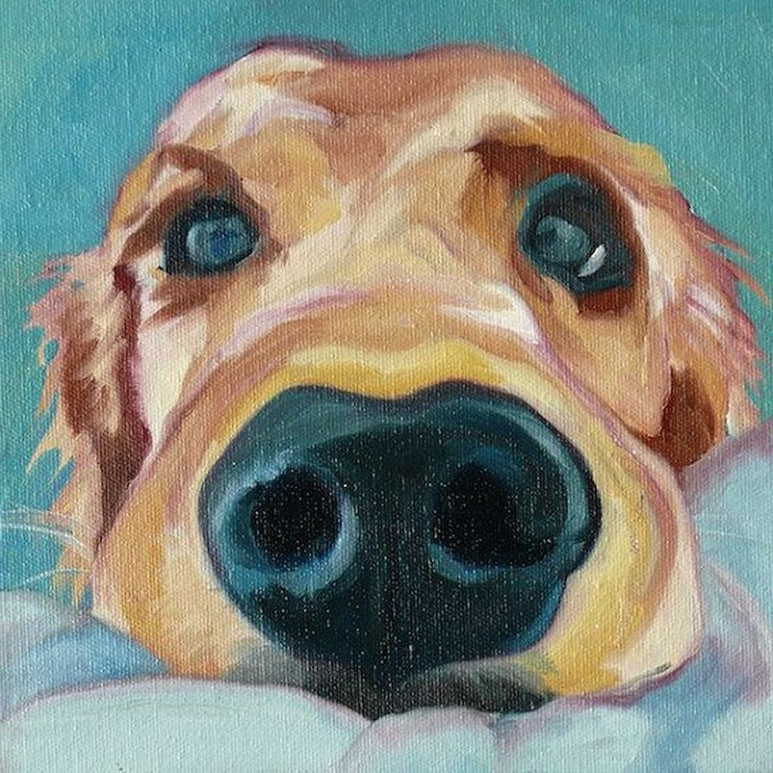 close up of a dog, leaning on white surface, canvas painting, turquoise background