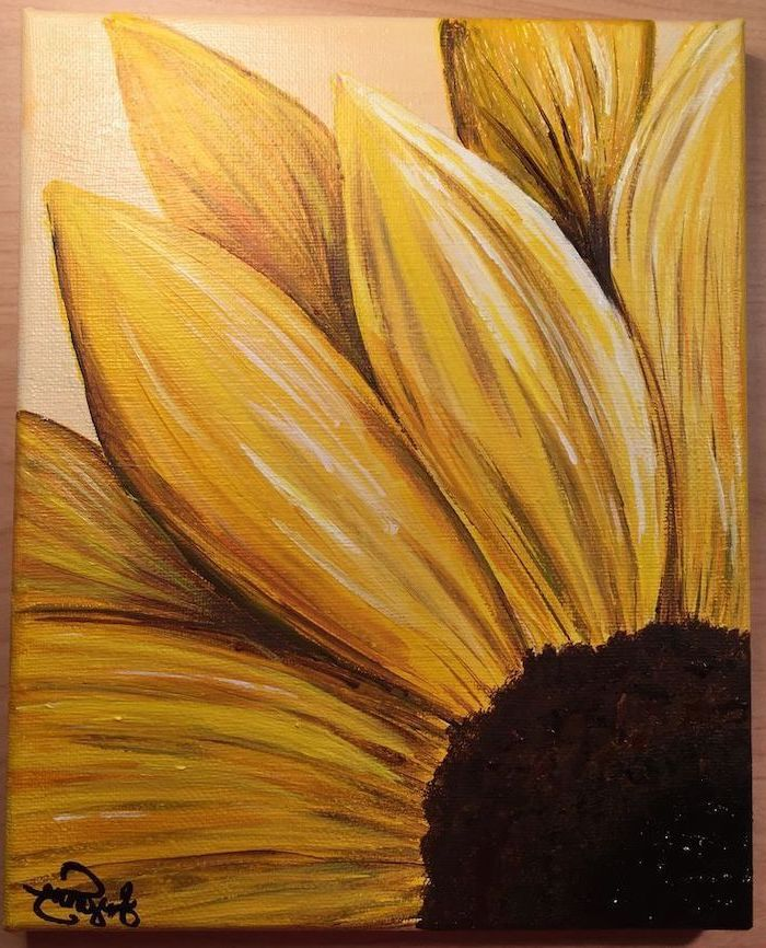 close up of a yellow sunflower, painted on white canvas, acrylic flower painting