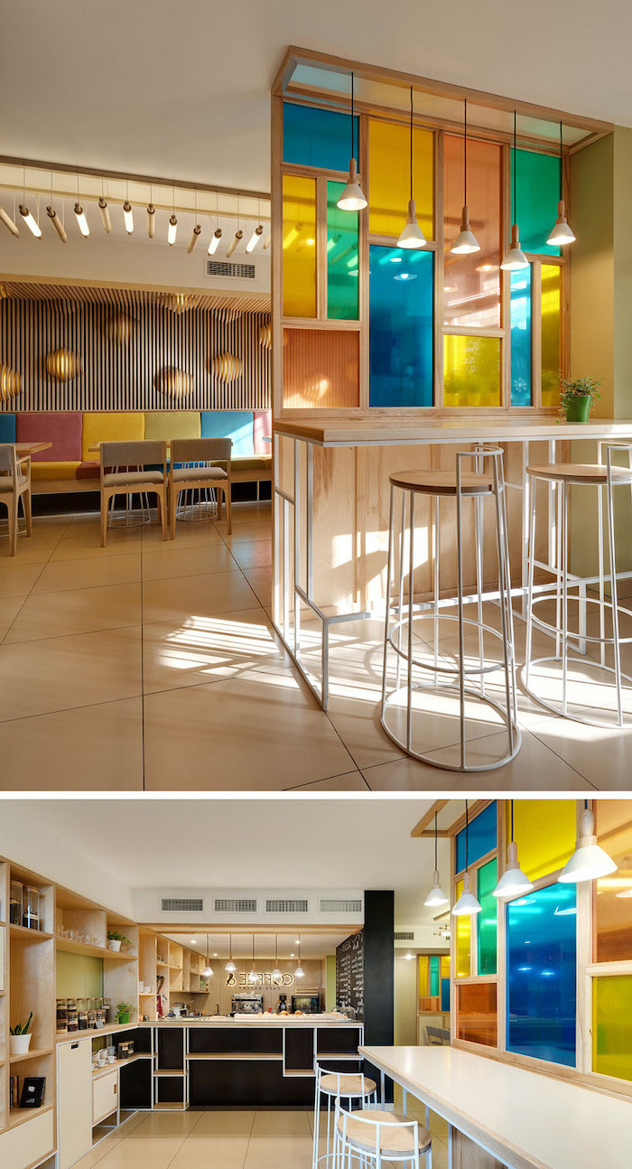 two photos of coffee shop, black coffee bar and colorful chairs, stained glass panels, room divider with colored windows