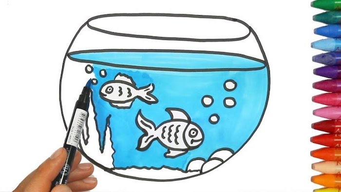 coloring page, aquarium with two fish inside, drawn on white background, step by step drawing, crayons on the side