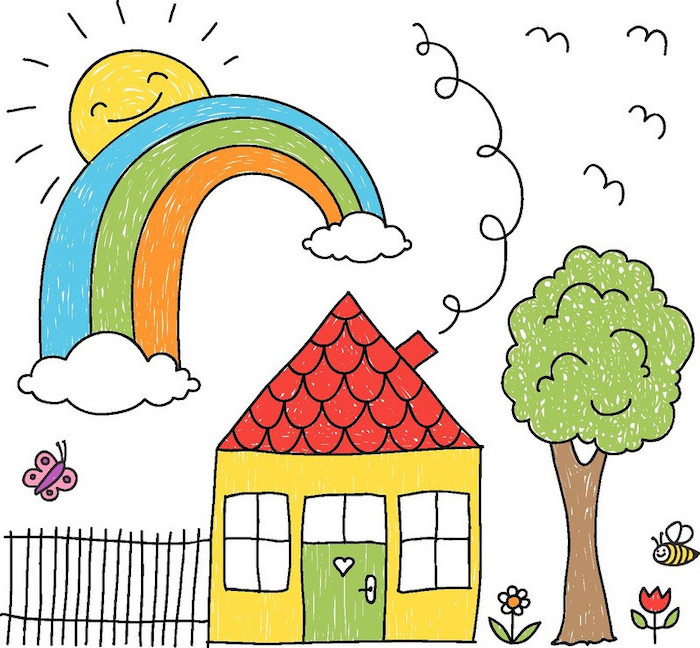 house and a tree next to it, rainbow and sun in the corner, colored drawing, step by step drawing