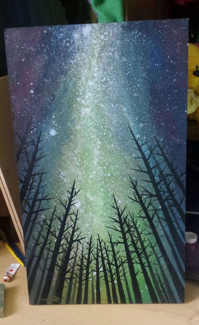 northern lights shining in the sky, covered with stars, acrylic flower painting, tall black trees with no leaves, canvas painting ideas with black background