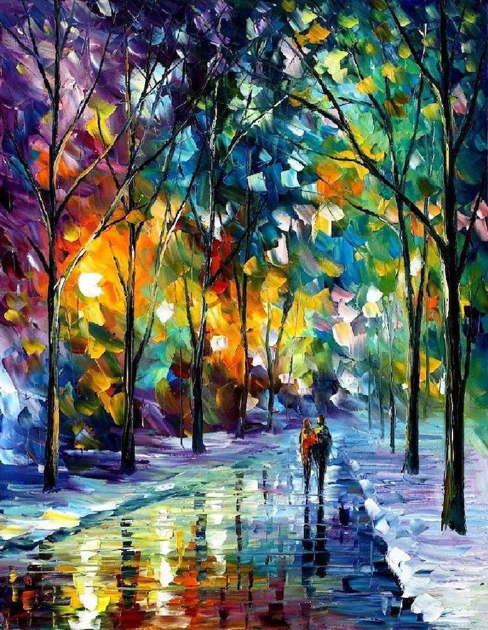 canvas painting ideas, couple walking in the park, pathway surrounded by tall trees, leaves in different colors