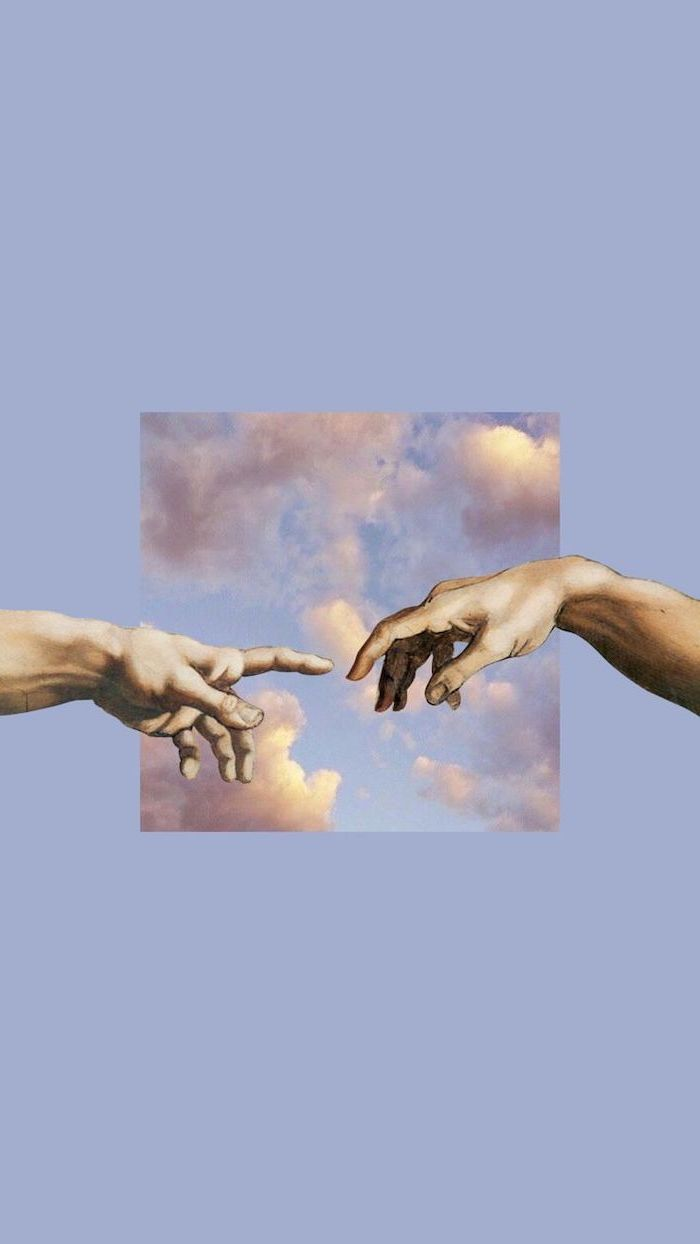 piece of creation of adam by michelangelo, pinterest wallpaper, fingers touching on blue background