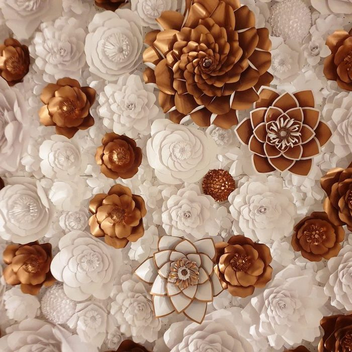 white and gold paper flowers, different shapes and sizes, how to make tissue paper flowers, arranged together as a backdrop