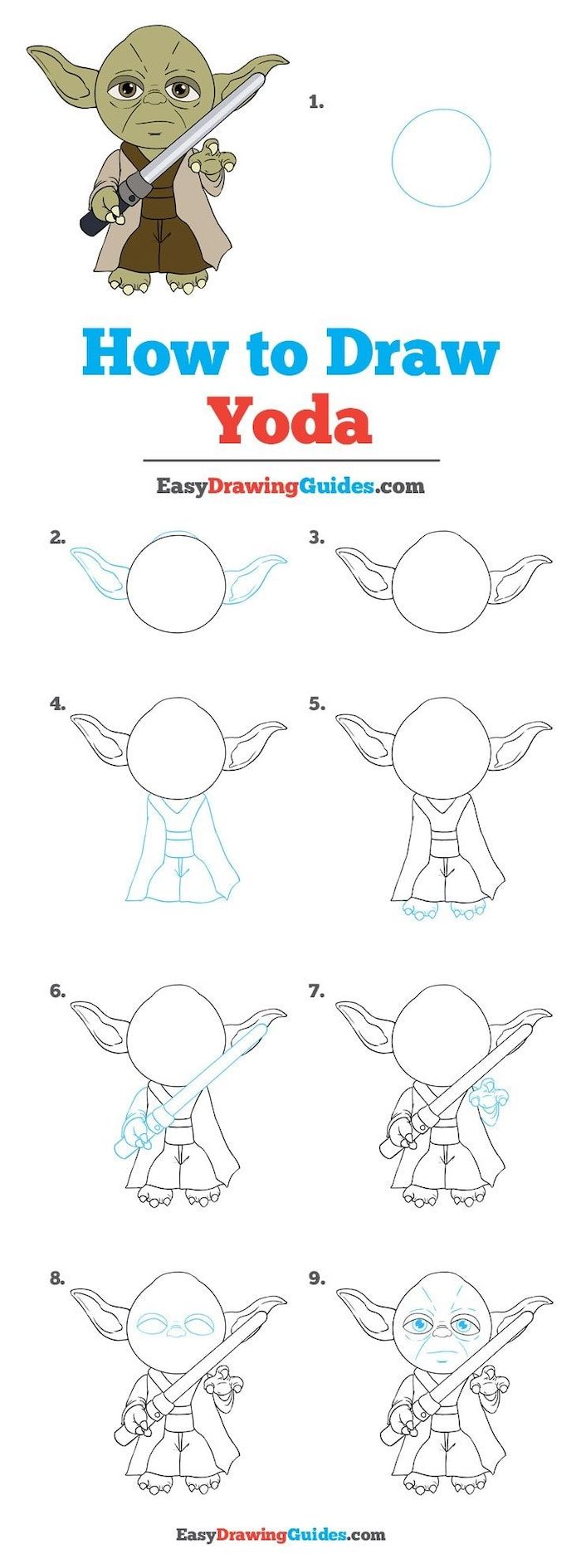 how to draw yoda in nine steps, easy drawings step by step, step by step diy tutorial, white background