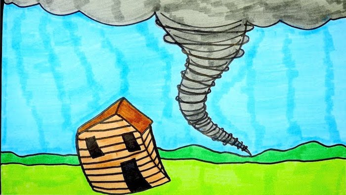 house blown away by tornado, easy drawings step by step, blue sky in the background, drawing colored with markers