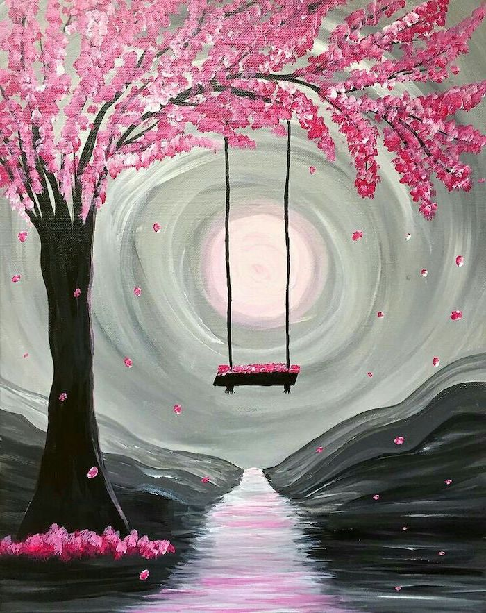 swing attached to a tree branch, tree with pink blossoms, canvas painting ideas, path covered with blossoms
