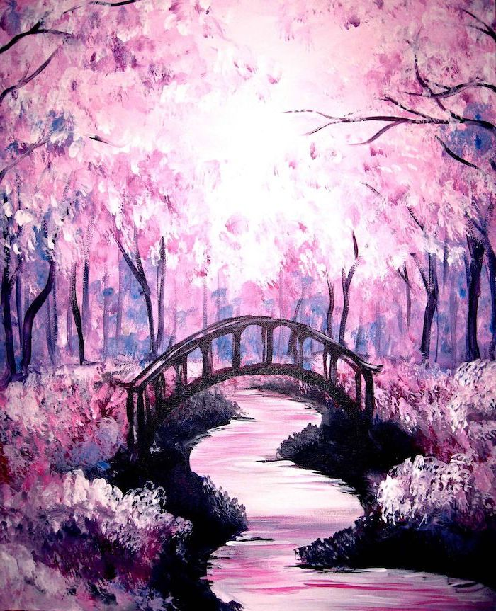 bridge over a narrow river, acrylic flower painting, surrounded by trees with pink blossoms, blossoms on the ground