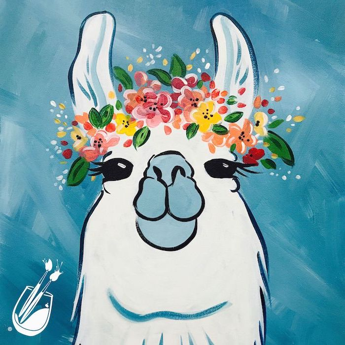 smiling llama, wearing a floral crown, canvas painting ideas, blue background