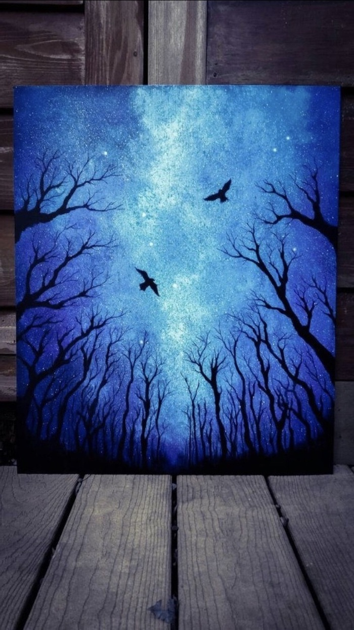 dark blue sky, covered with lots of stars, acrylic painting on canvas, tall black trees, two birds flying around them