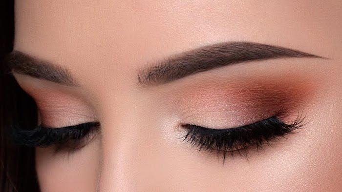 white orange eyeshadow colors, woman with thick dark eyebrows, eyeshadow tutorial, long black lashes