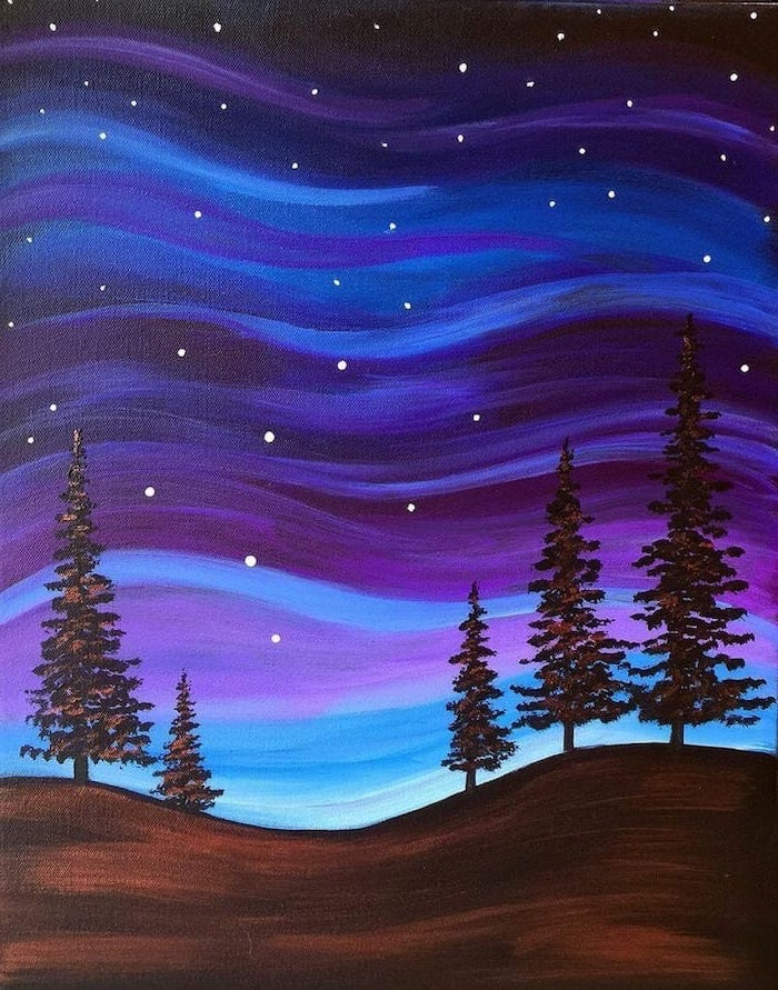 tall black trees, colorful sky in the background, acrylic painting on canvas, painted in blue purple and black