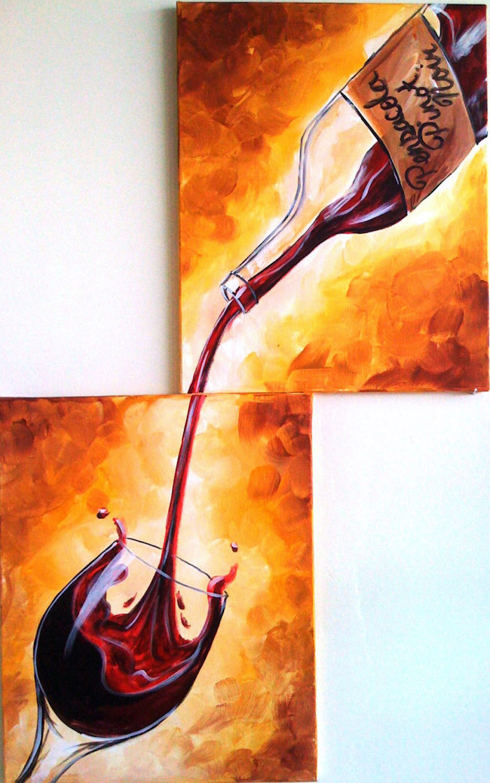 two paintings hanged on white wall, canvas painting ideas, wine poured out of bottle, poured into a wine glass