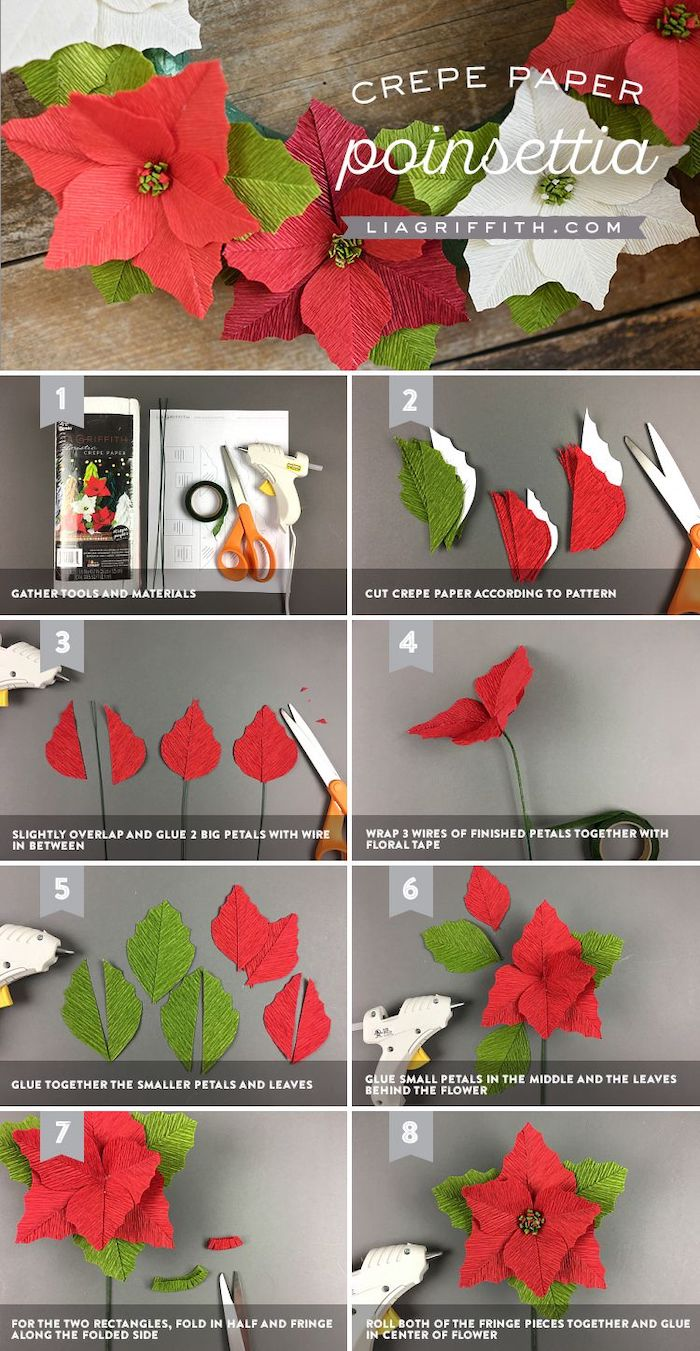 photo collage of step by step diy tutorial, paper flower backdrop, how to make a poinsettia flower out of crepe paper
