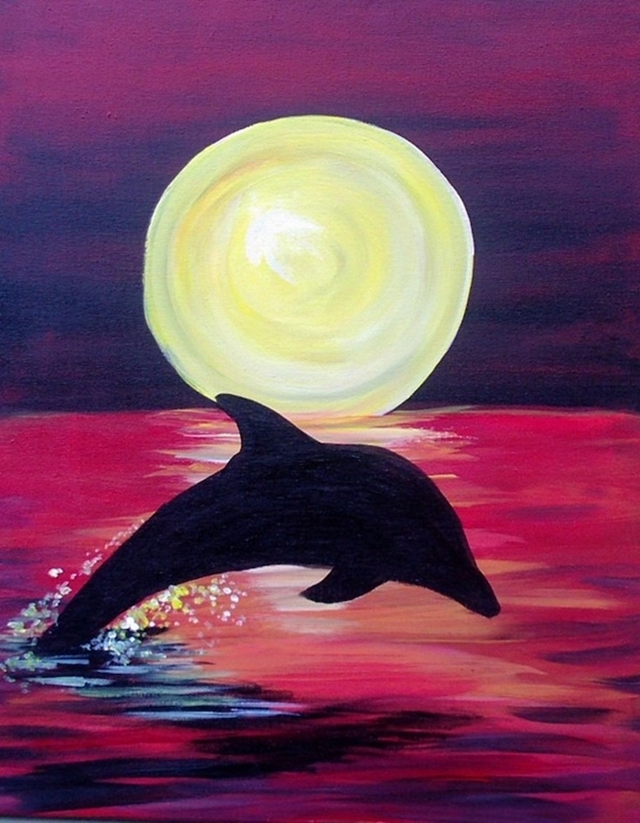 dolphin swimming in the ocean, acrylic painting on canvas, sunset sky, large sun low on the horizon
