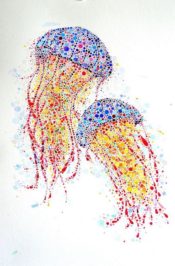 dotted jellyfish, colorful painting done with watercolor, white background, easy drawings step by step, creative drawing ideas for beginners step by step