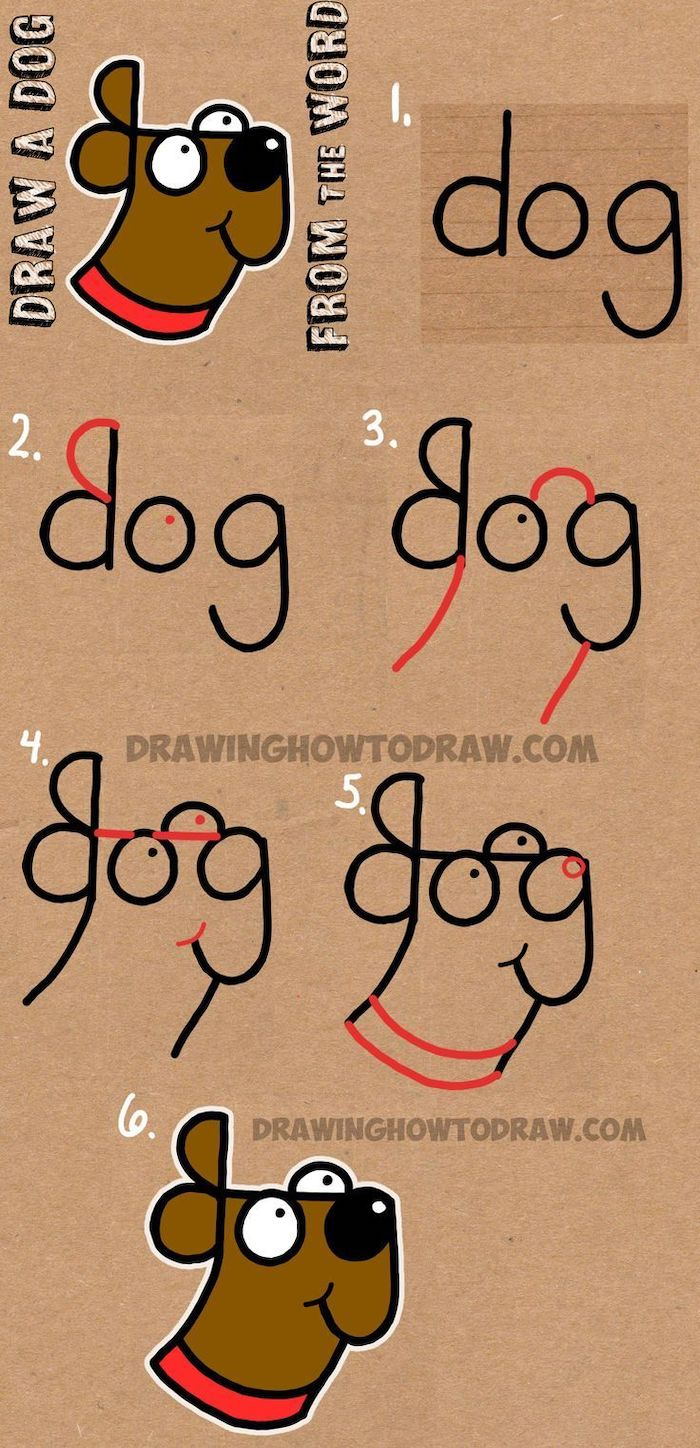 draw a dog from the word dog, step by step diy tutorial, cool pictures to draw, colored drawing