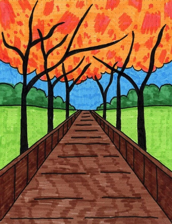 drawing of a pathway underneath trees, cool pictures to draw, drawing colored with markers