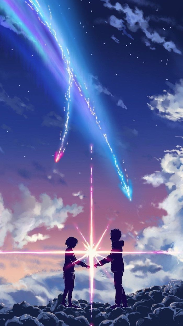 drawing of a boy and girl, standing on rocks, large star between them, pinterest wallpaper, blue and pink arrows in the sky