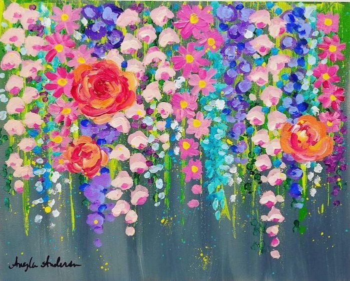 acrylic painting on canvas, different flowers, in different shapes sizes and colors, painted on grey background