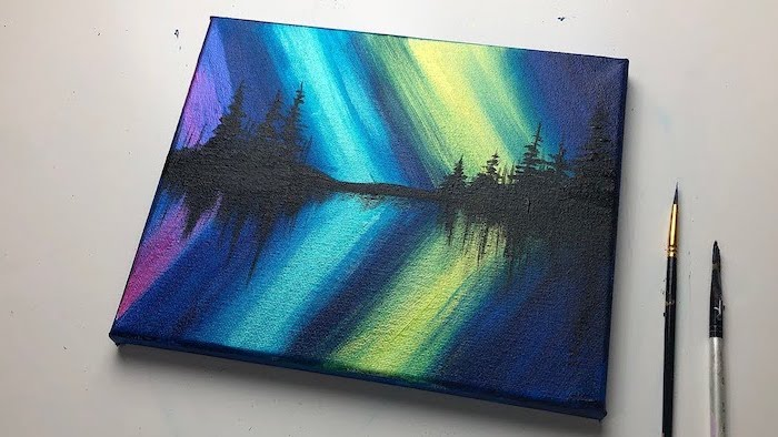 northern lights shining in the sky, above a lake, surrounded by tall black trees, acrylic painting on canvas