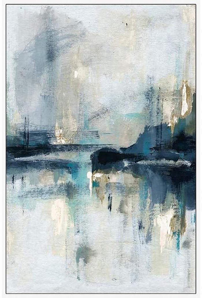 abstract painting with white background, cool easy paintings, black blue and golden colors used
