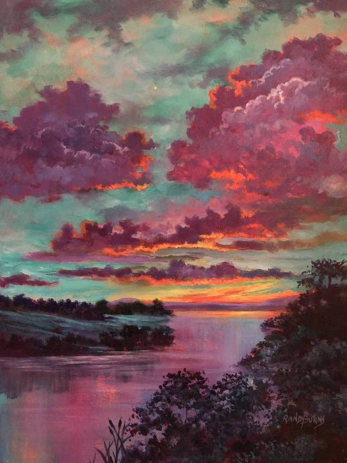 sunset sky over a river, cool easy paintings, dark trees and bushes along the river, purple and orange colors