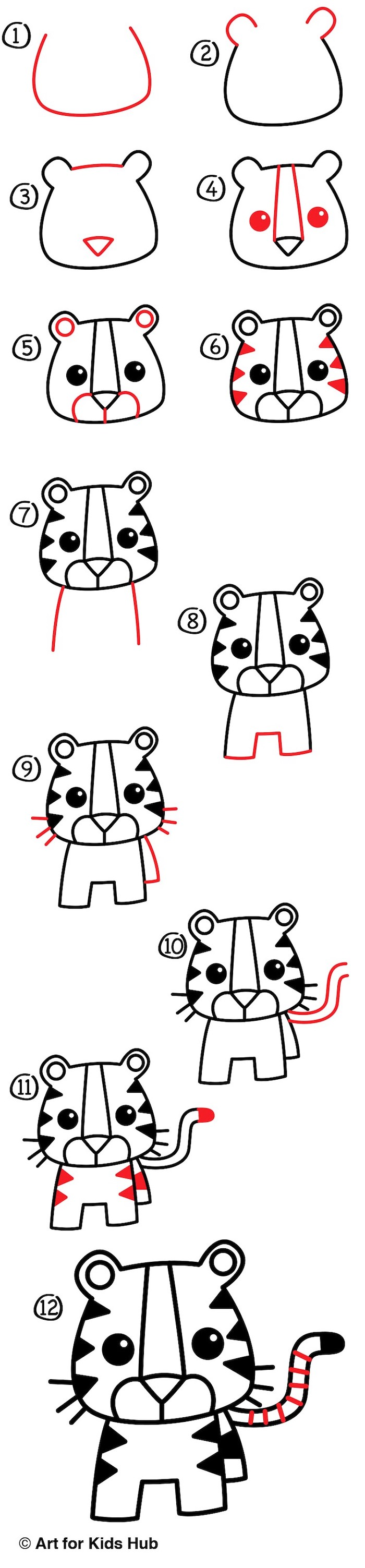 how to draw a baby tiger in twelve steps, how to draw step by step, step by step diy tutorial, white background