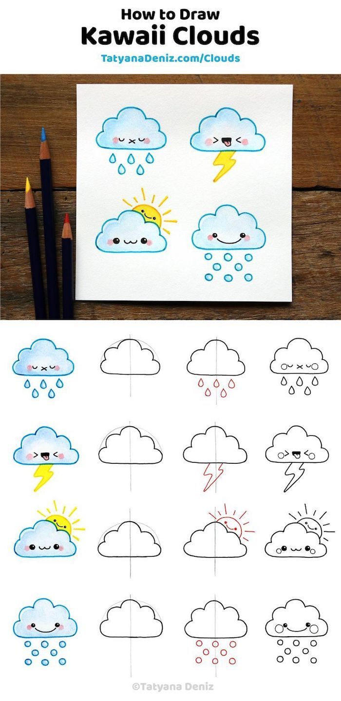 how to draw kawaii clouds, how to draw step by step, colored with blue and yellow pencils, step by step diy tutorial