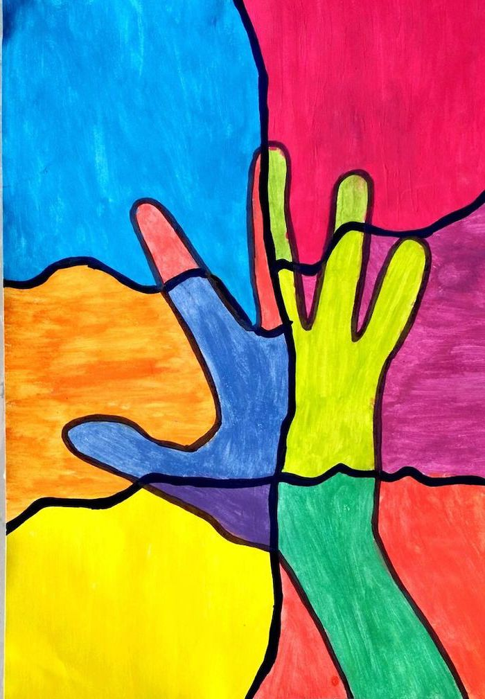 hand print colored in different colors, how to draw step by step, staned glass effect, colored with markers, simple easy drawings step by step for beginners