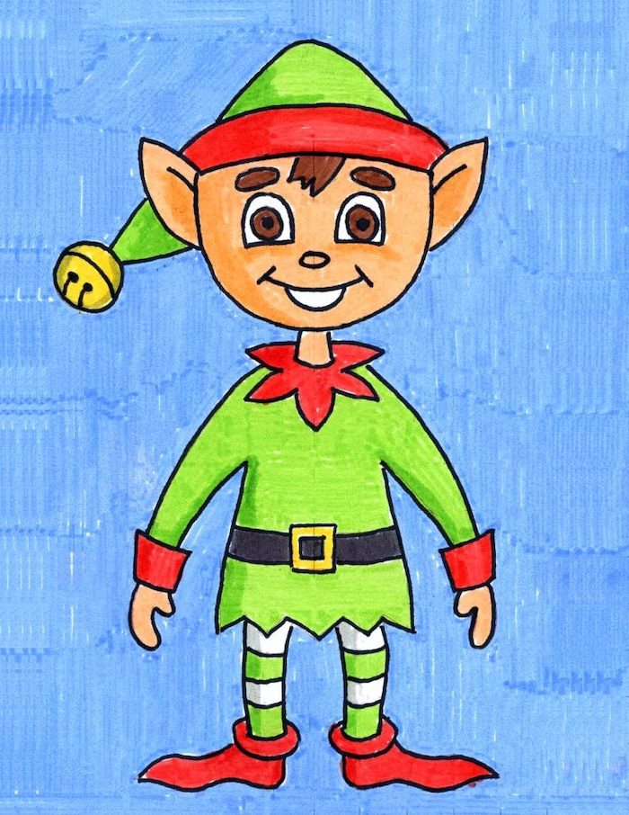drawing of an elf, how to draw step by step, with har and shoes, blue background, colored with markers
