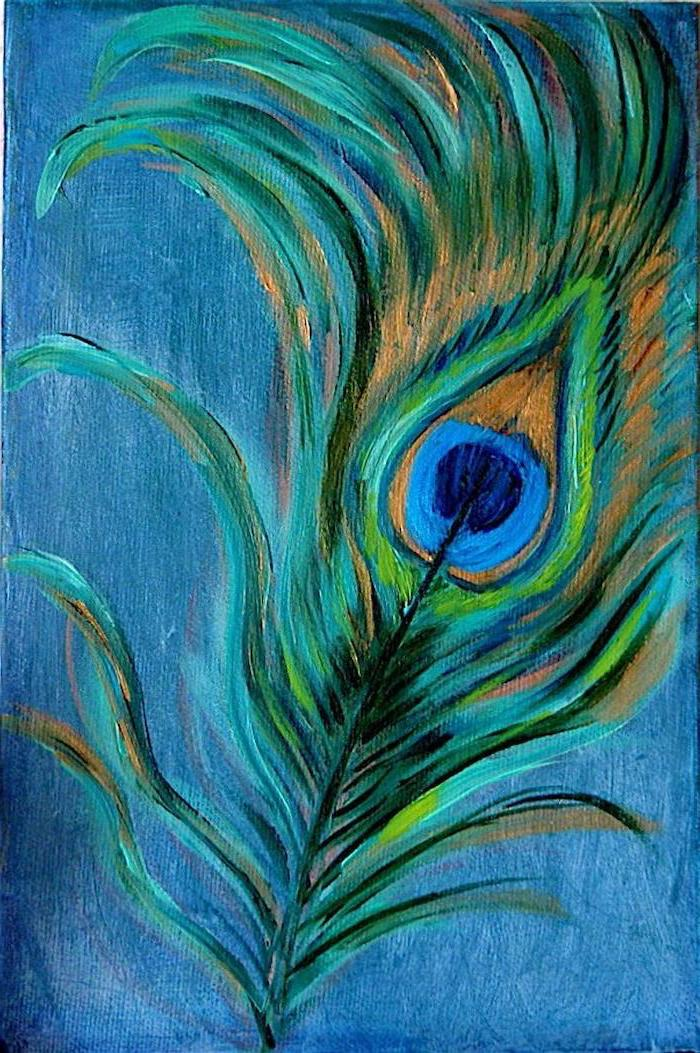 feather from a peacock, cool easy paintings, painted in gold green and blue, blue background