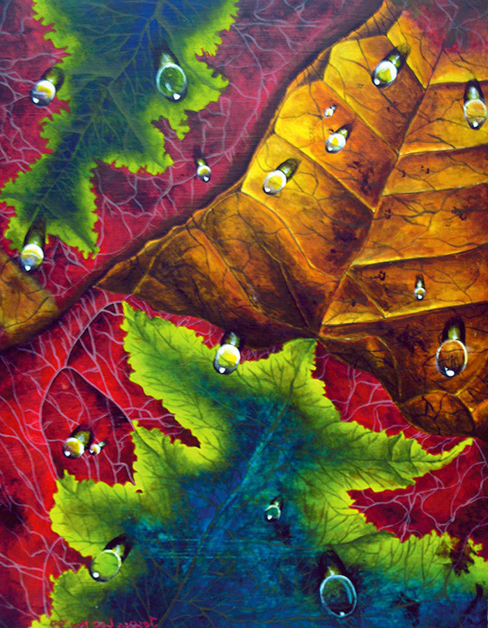 close up of fall leaves, water drops on them, cool easy paintings, painted with green red yellow and blue colors
